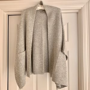 LOFT One Size Grey Marled Pocketed Sweater Poncho
